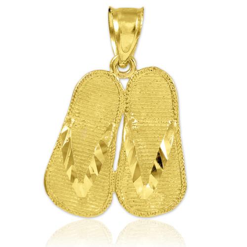 Gold Flip Flops 3D Charm Pendant Necklace
