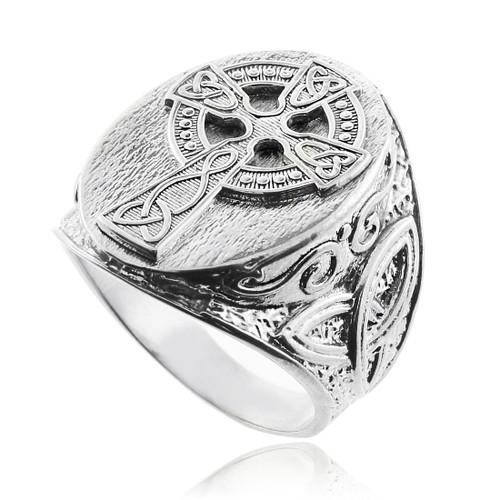 Silver Celtic Cross Trinity Knot Ring