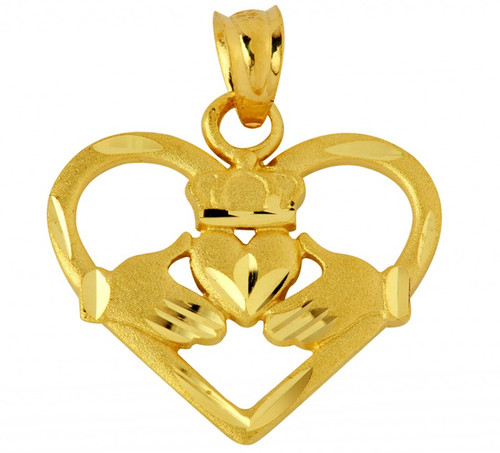 Heart Shaped Claddagh Pendant