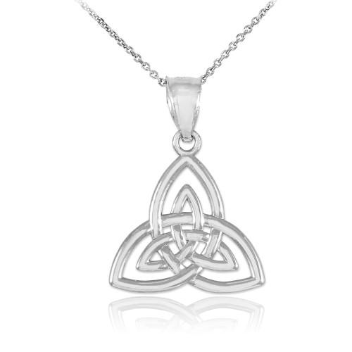 Silver Celtic Knot Triquetra Charm Pendant Necklace