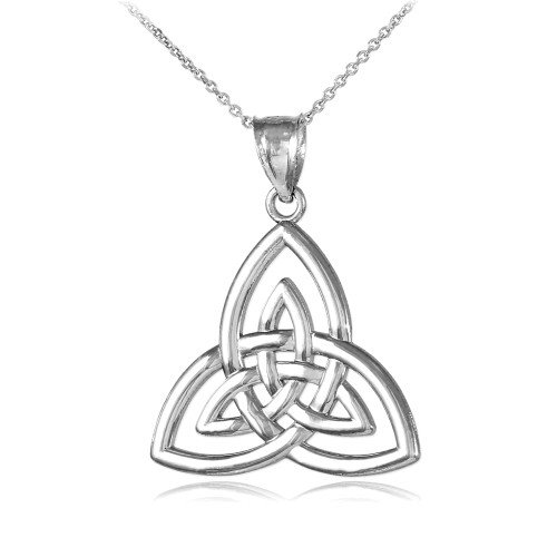 Silver Triquetra Trinity Knot Pendant Necklace