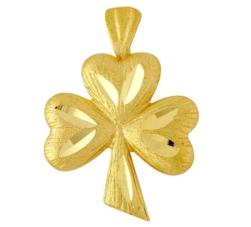 Gold Clover Celtic Pendant