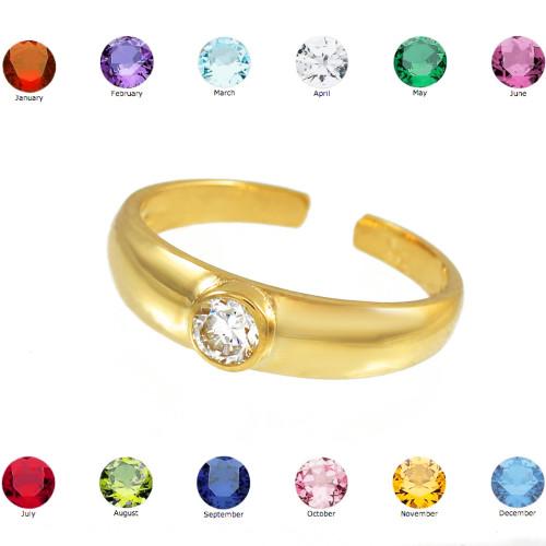 Solid Gold Birthstone CZ Toe Ring