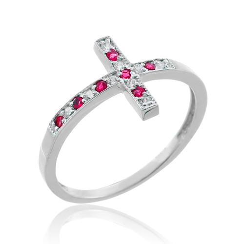 Silver Sideways Cross CZ Ring with Red Zirconia