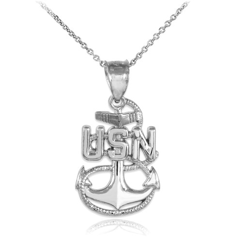 Silver United States Navy Pendant Necklace