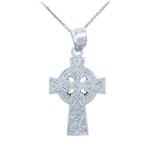 Silver Celtic Charm Gaelic Cross Pendant Necklace