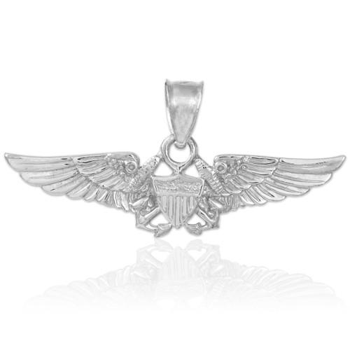 US Aviator Badge Silver Pendant