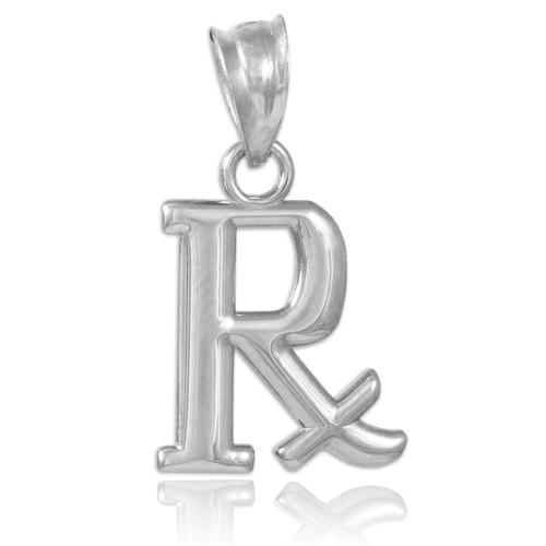 White Gold Rx Prescription Symbol Charm Pendant Necklace