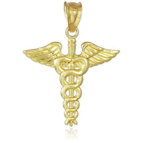 Gold Caduceus Charm Pendant Necklace