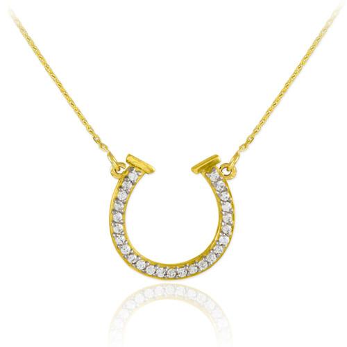 14K Gold Diamond Horseshoe Necklace