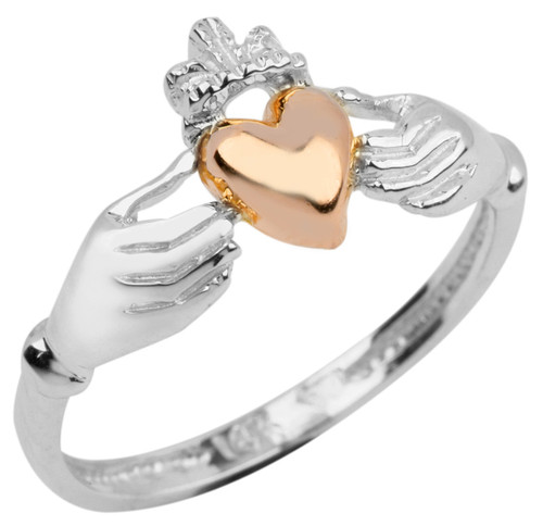 White Gold Claddagh Ring Ladies with Pink Heart