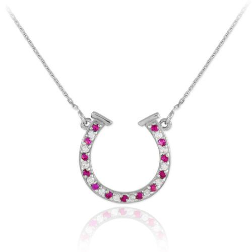14K White Gold Diamond & Ruby Horseshoe Necklace