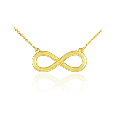 14K Polished Solid Gold Infinity Pendant Necklace