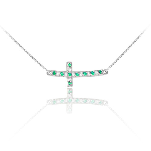Sterling Silver Cute Green and Clear CZ Sideways Curved Cross Necklace