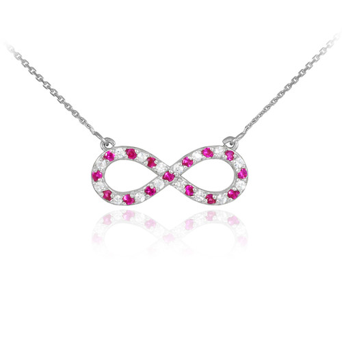 Sterling Silver Clear & Red CZ Infinity Necklace