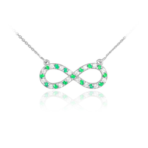 14K White Gold Clear & Green CZ Infinity Necklace