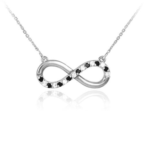 Infinity Pendant 14k White Gold Polished Clear & Black Diamonds Necklace