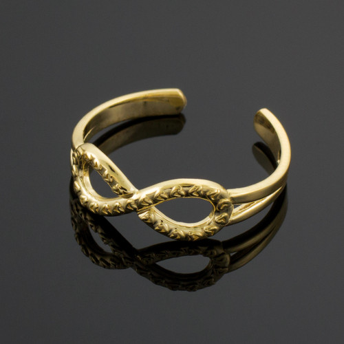 Gold Infinity Toe Ring with Hearts Texture