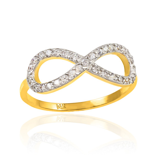 Gold CZ Infinity Ring