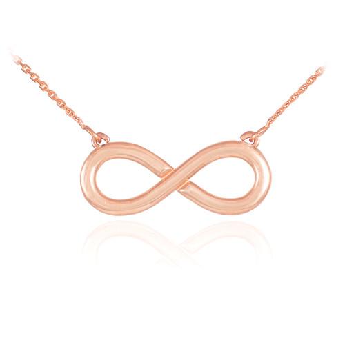 14K Polished Solid Rose Gold Infinity Pendant Necklace