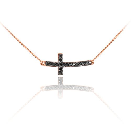 14K Rose Gold Sideways Curved Cross Black CZ Cute Necklace