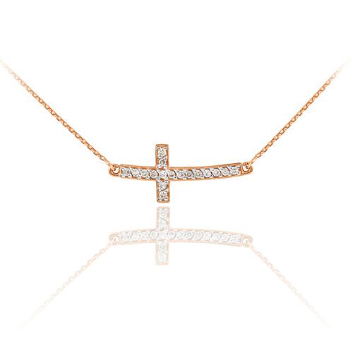 14K Rose Gold Sideways Diamond Cute Curved Cross Necklace