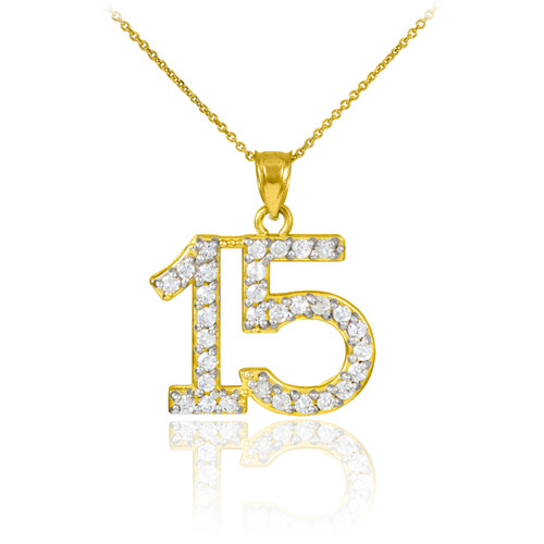 Quinceanera 15 Anos Pendant Necklace with diamonds in yellow gold.