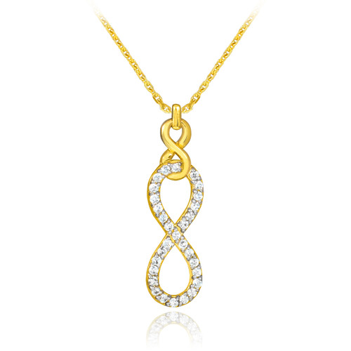 Vertical infinity necklace with clear cubic zirconia in 14k gold.