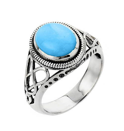 Silver Trinity Knot Turquoise Ring