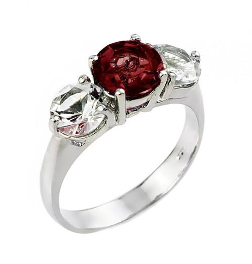 Garnet and white topaz gemstone ladies ring in 10k or 14k white gold.