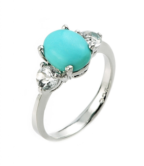 Turquoise and white topaz gemstone ladies ring in 10k or 14k white gold.