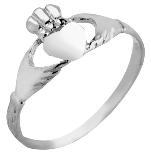 White Gold Claddagh Baby Ring