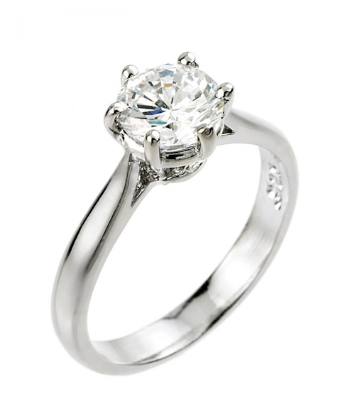 1 ct CZ (6 mm round) solitaire engagement ring in 10k or 14k white gold.