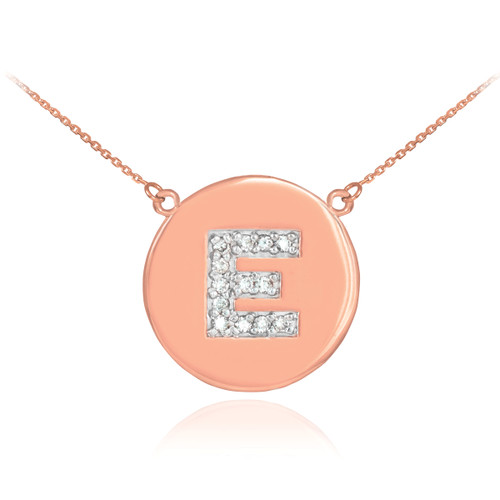 """Letter """"E"""" disc necklace with diamonds in 14k rose gold."""