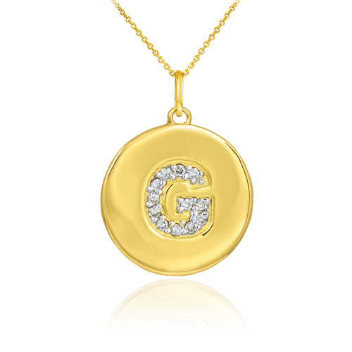 """Letter """"G"""" disc pendant necklace with diamonds in 10k or 14k yellow gold."""