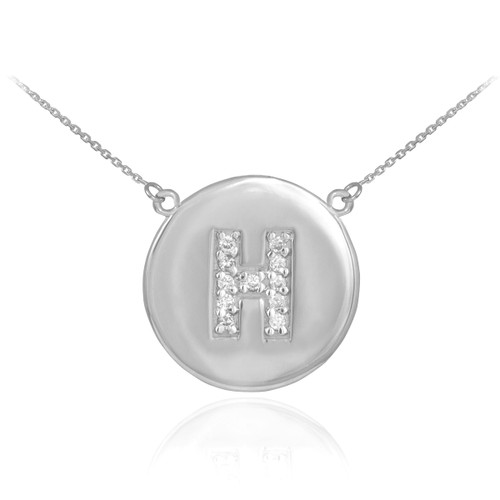 """Letter """"H"""" disc necklace with diamonds in 14k white gold."""