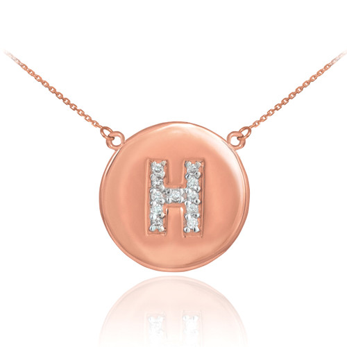 """Letter """"H"""" disc necklace with diamonds in 14k rose gold."""