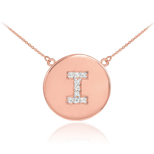 """Letter """"I"""" disc necklace with diamonds in 14k rose gold."""