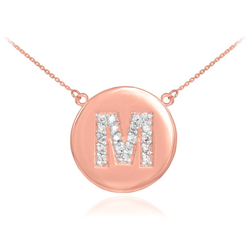 """14k Rose Gold Letter """"M"""" Initial Diamond Disc Necklace"""