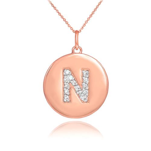 "14k Rose Gold Letter ""N"" Initial Diamond Disc Pendant Necklace"