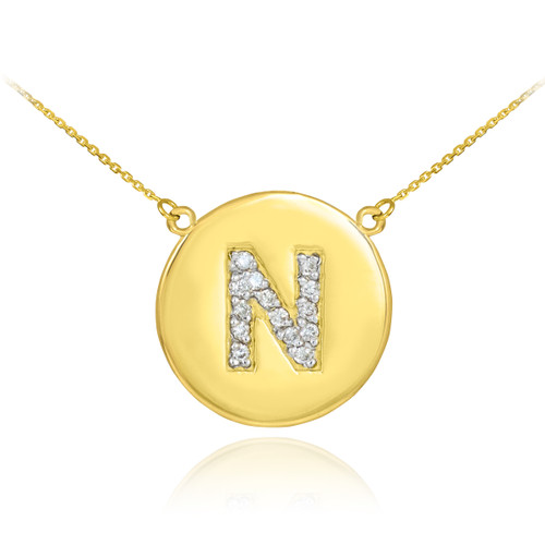 "14k Gold Letter ""N"" Initial Diamond Disc Necklace"