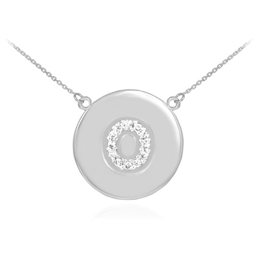 """14k White Gold Letter """"O"""" Initial Diamond Disc Necklace"""