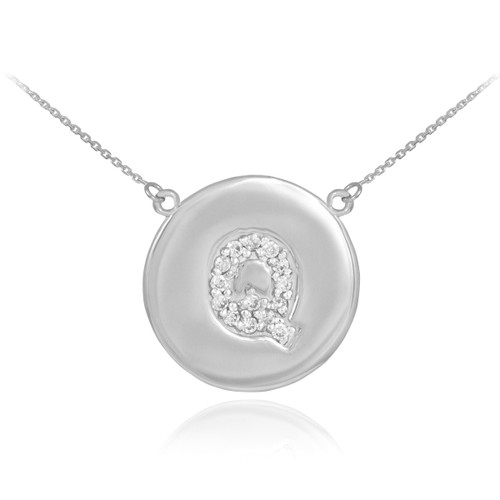 "14k White Gold Letter ""Q"" Initial Diamond Disc Necklace"