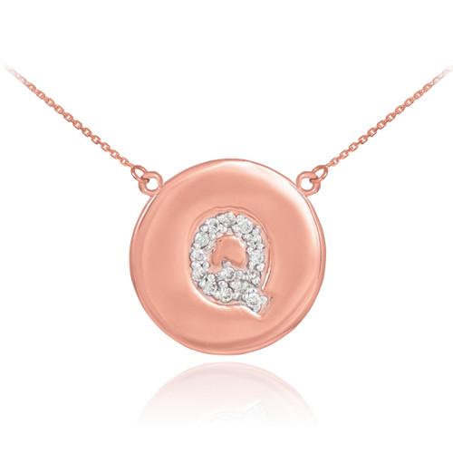 "14k Rose Gold Letter ""Q"" Initial Diamond Disc Necklace"