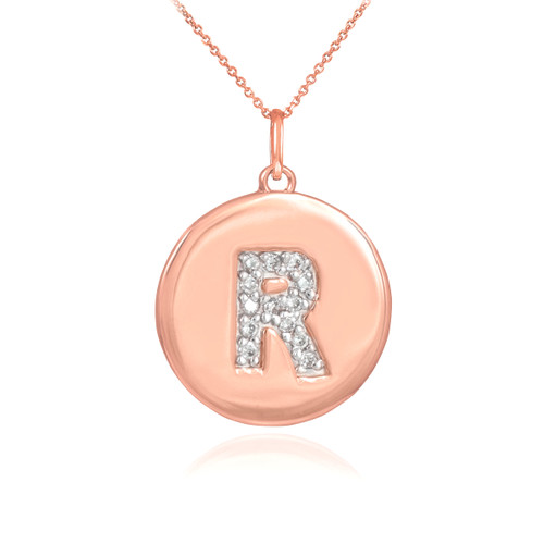 "14k Rose Gold Letter ""R"" Initial Diamond Disc Pendant Necklace"