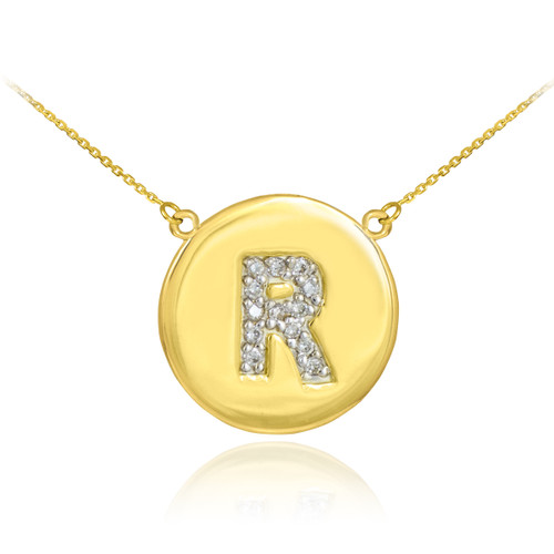 "14k Gold Letter ""R"" Initial Diamond Disc Necklace"