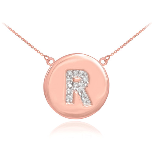 """14k Rose Gold Letter """"R"""" Initial Diamond Disc Necklace"""
