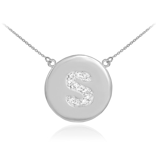 """14k White Gold Letter """"S"""" Initial Diamond Disc Necklace"""
