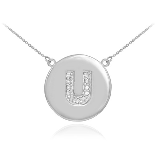 """14k White Gold Letter """"U"""" Initial Diamond Disc Necklace"""