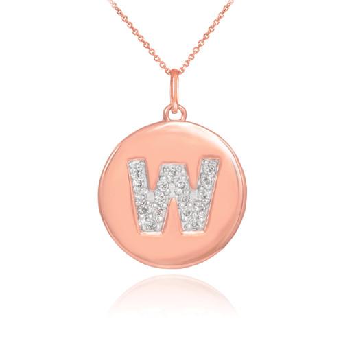 "14k Rose Gold Letter ""W"" Initial Diamond Disc Pendant Necklace"